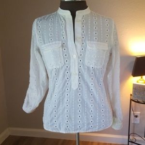 LOFT White Eyelet Embroidered Banded Collar Top